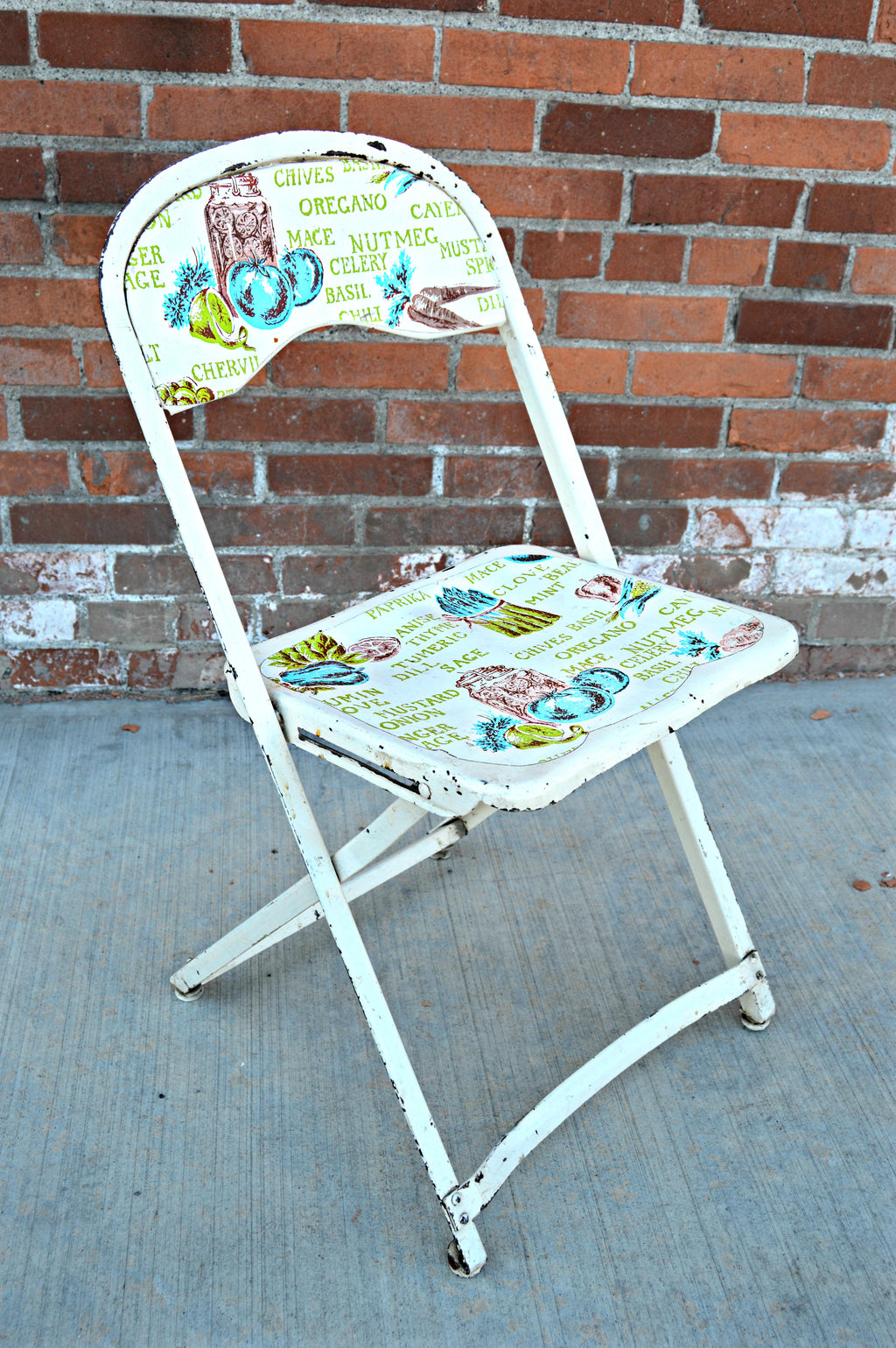 Antique metal chairs in white and cooking spice print