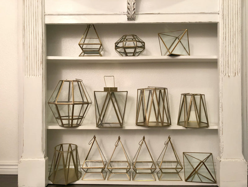 Set of gold geometric terrariums