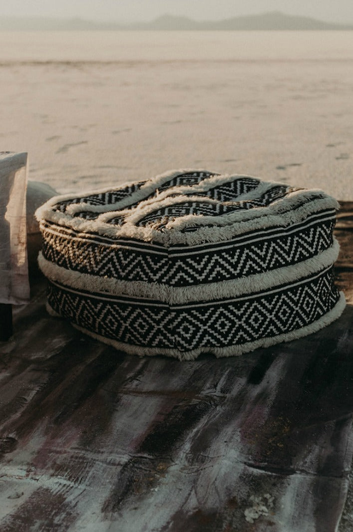 Moroccan pouf in the desert