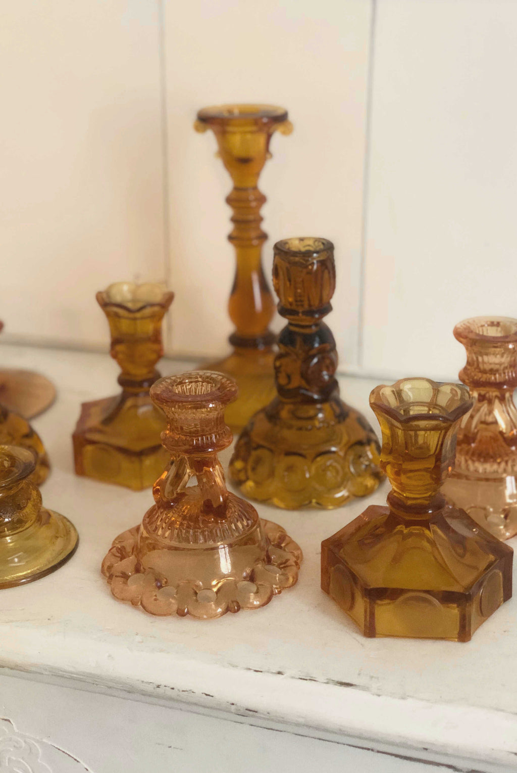 """Amber"" Candlestick Holders 