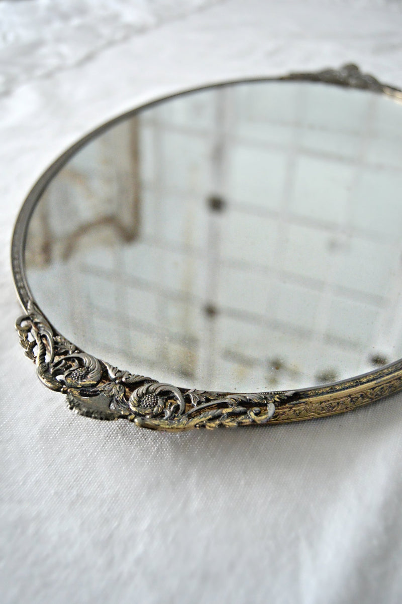 Oval mirror antique tray