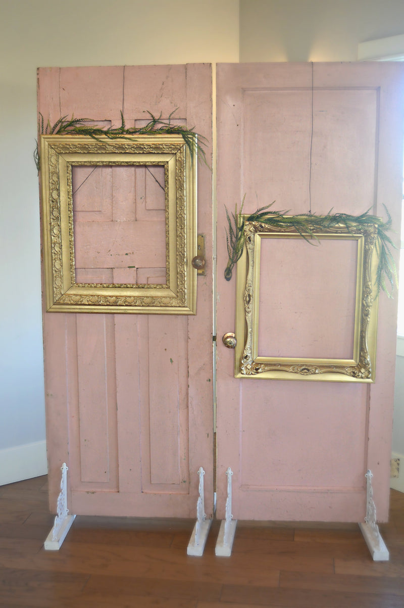 Vintage pink doors with gold frames