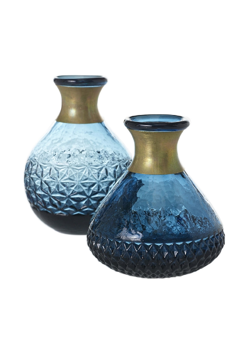 """Bermuda"" Blue Glass Vases 