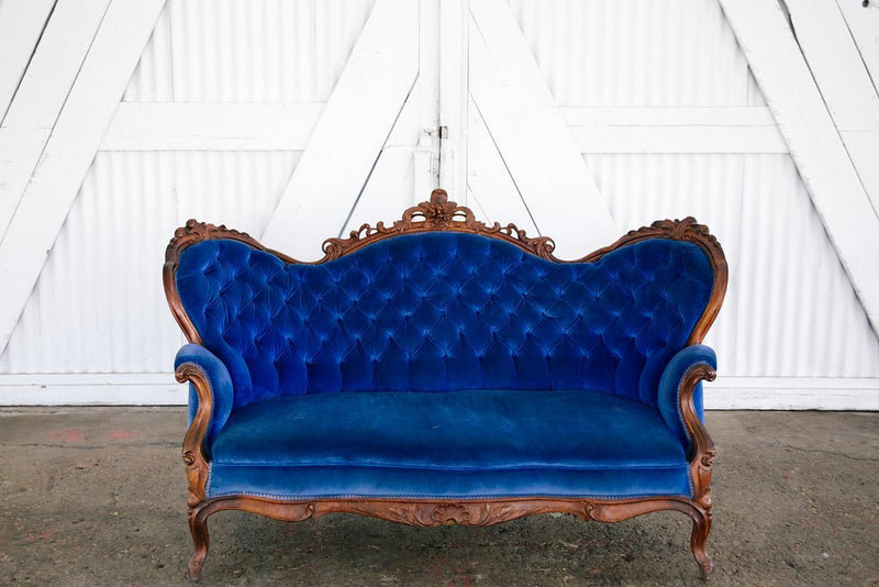 Sapphire colored Victorian settee