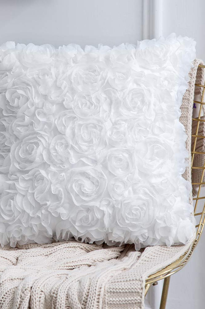 White rose patterned pillow