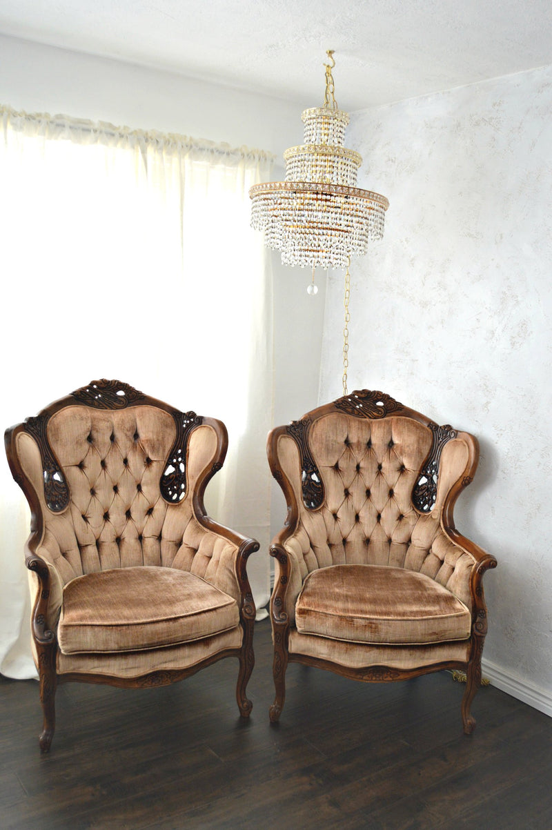 Tan Victorian chairs, Hollywood Regency styled