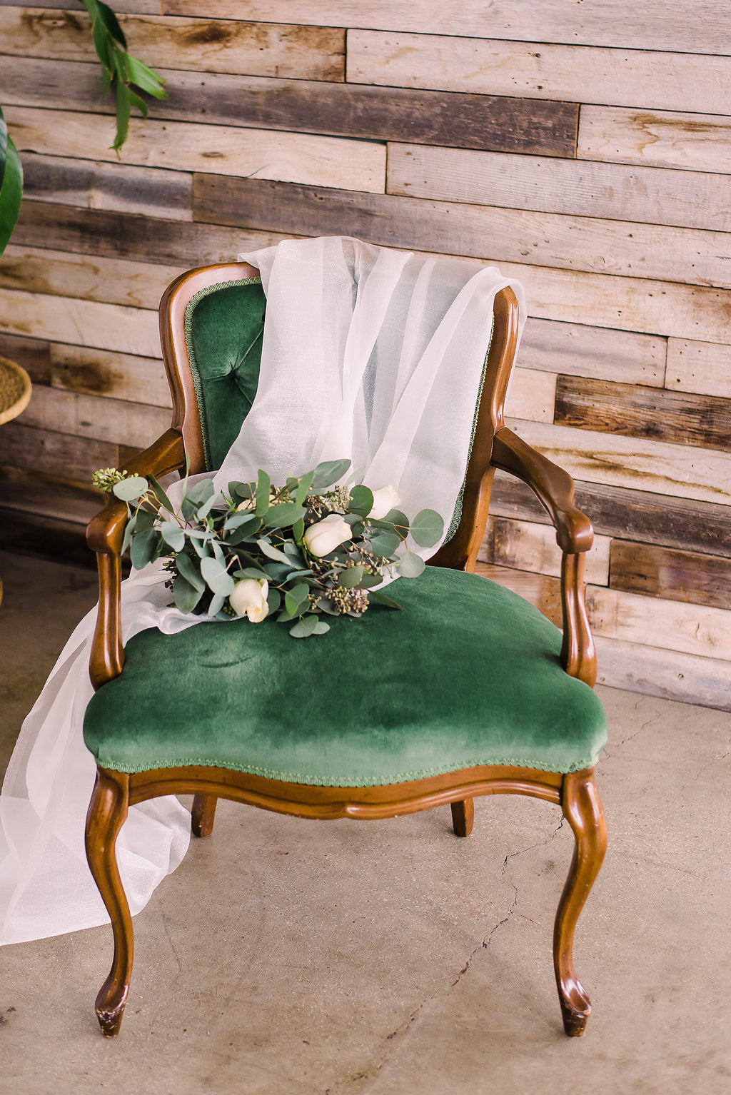 Vintage velvet green chair