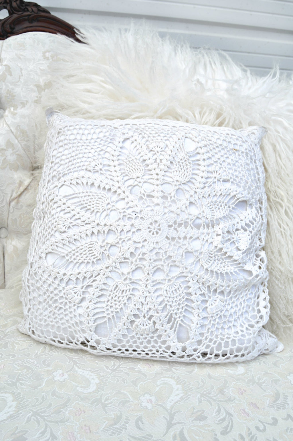 Vintage white crochet pillow