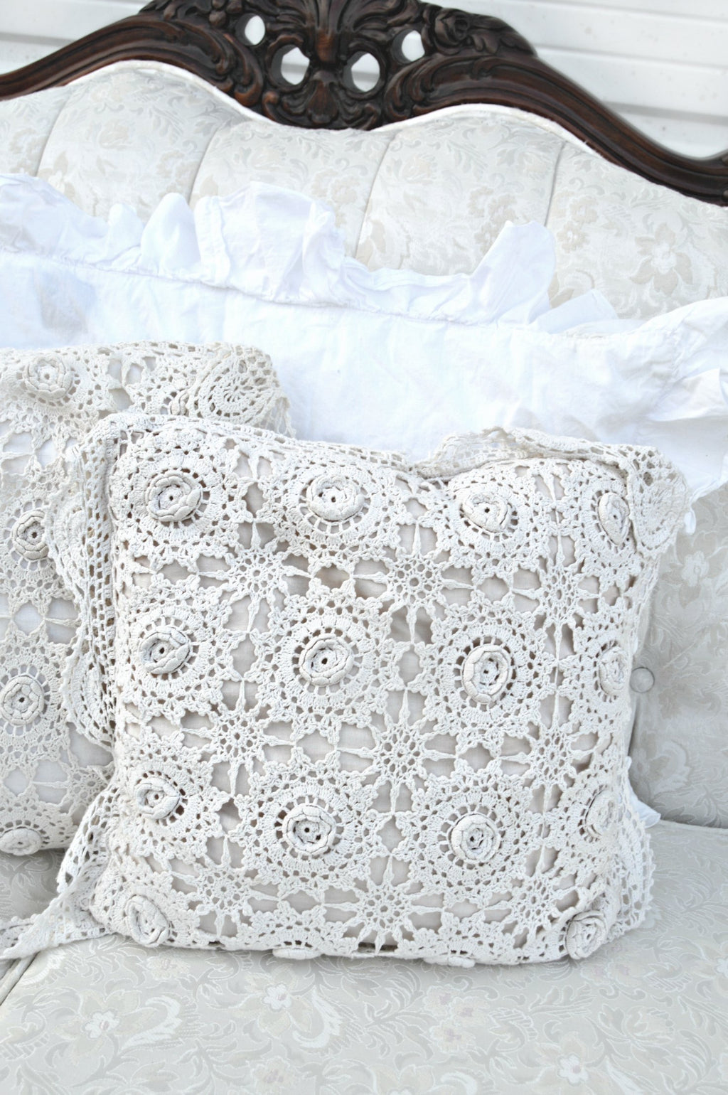 Cream crochet antique pillows