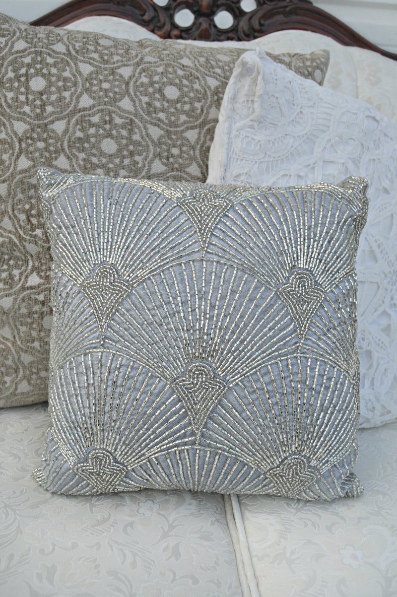 Silver beaded embellished pillow