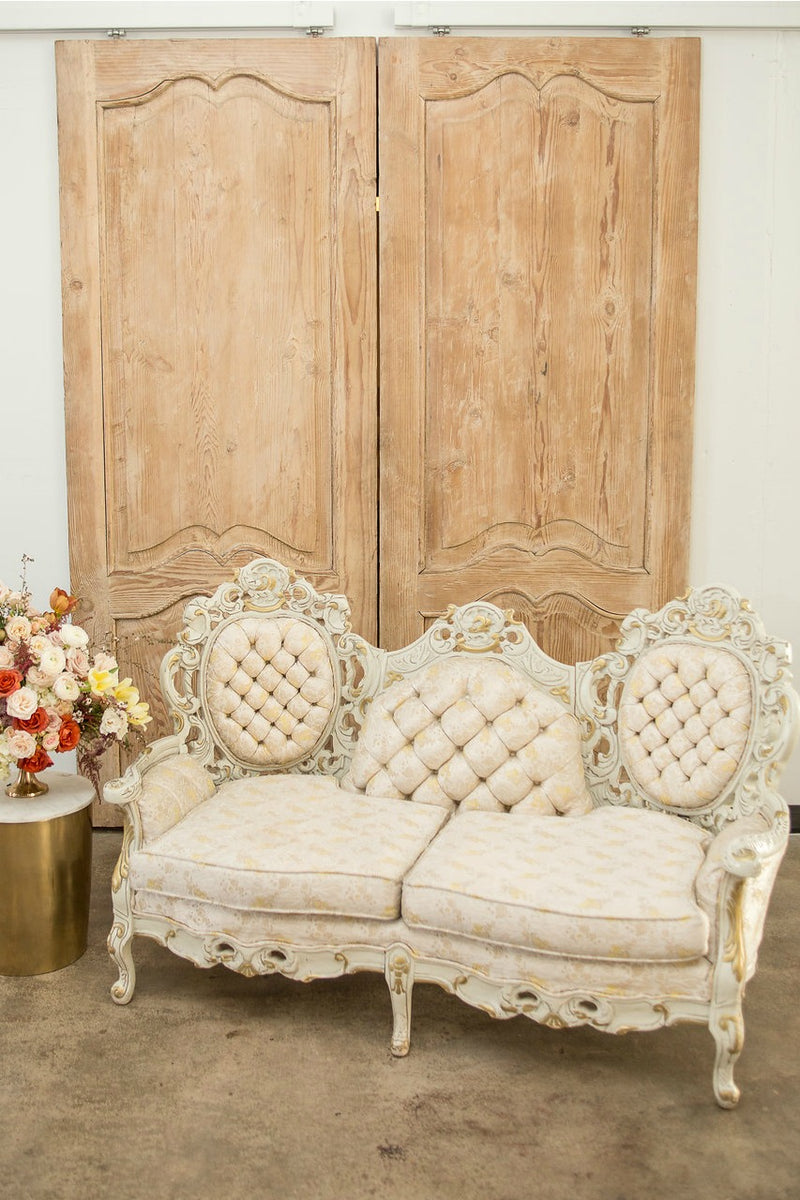 Rococo cream and gold vintage settee