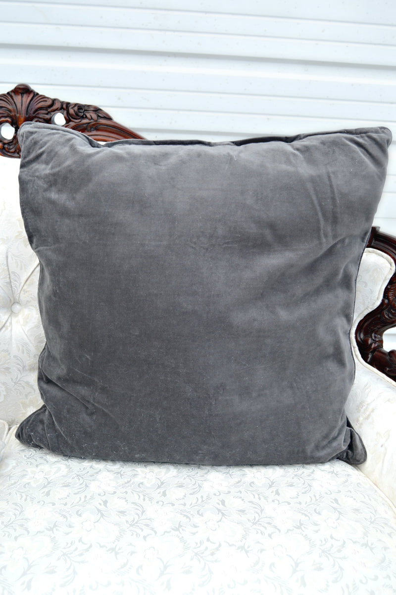 Large purple velvet pillow