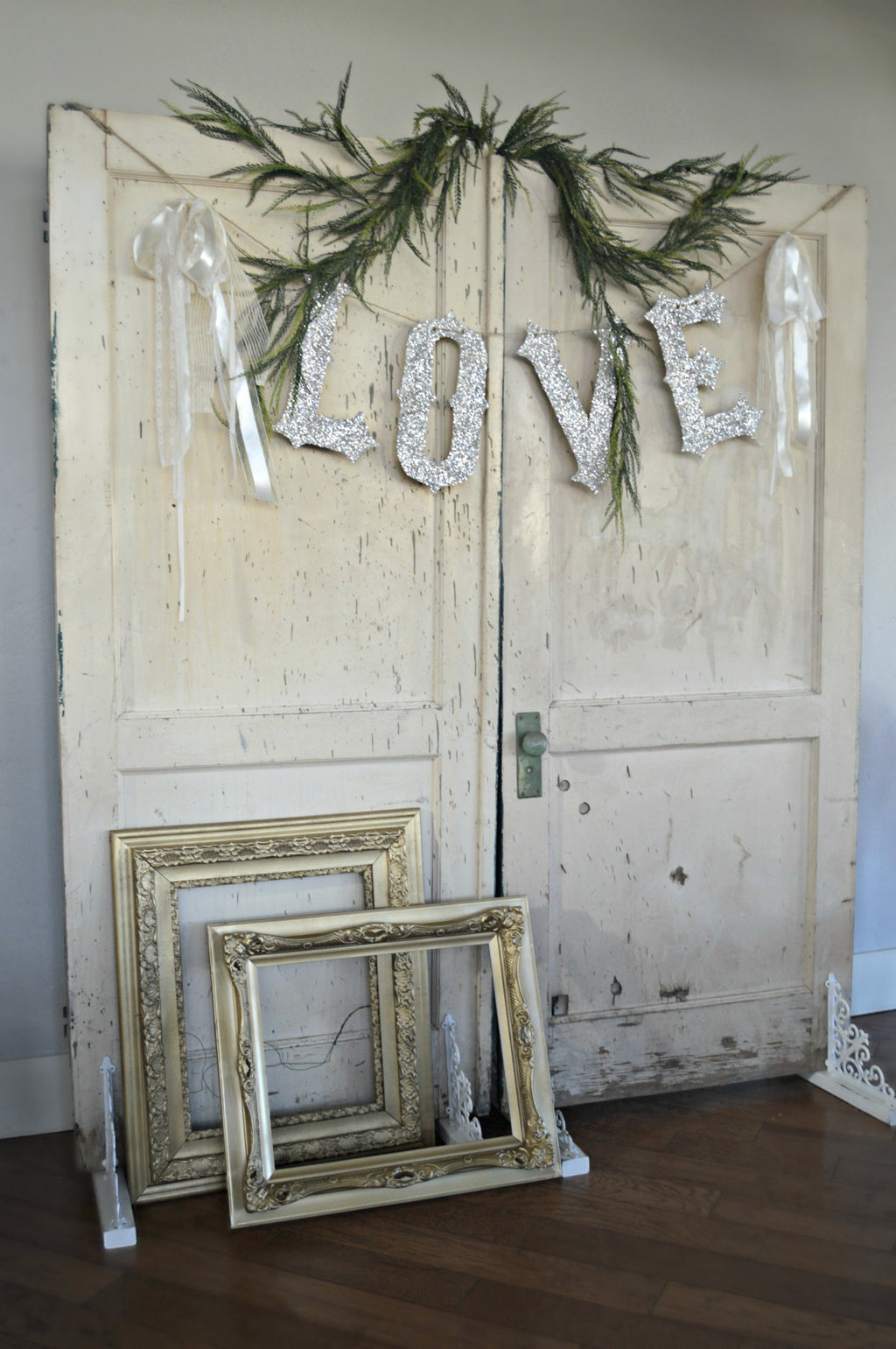 Cream antique doors, wedding backdrop