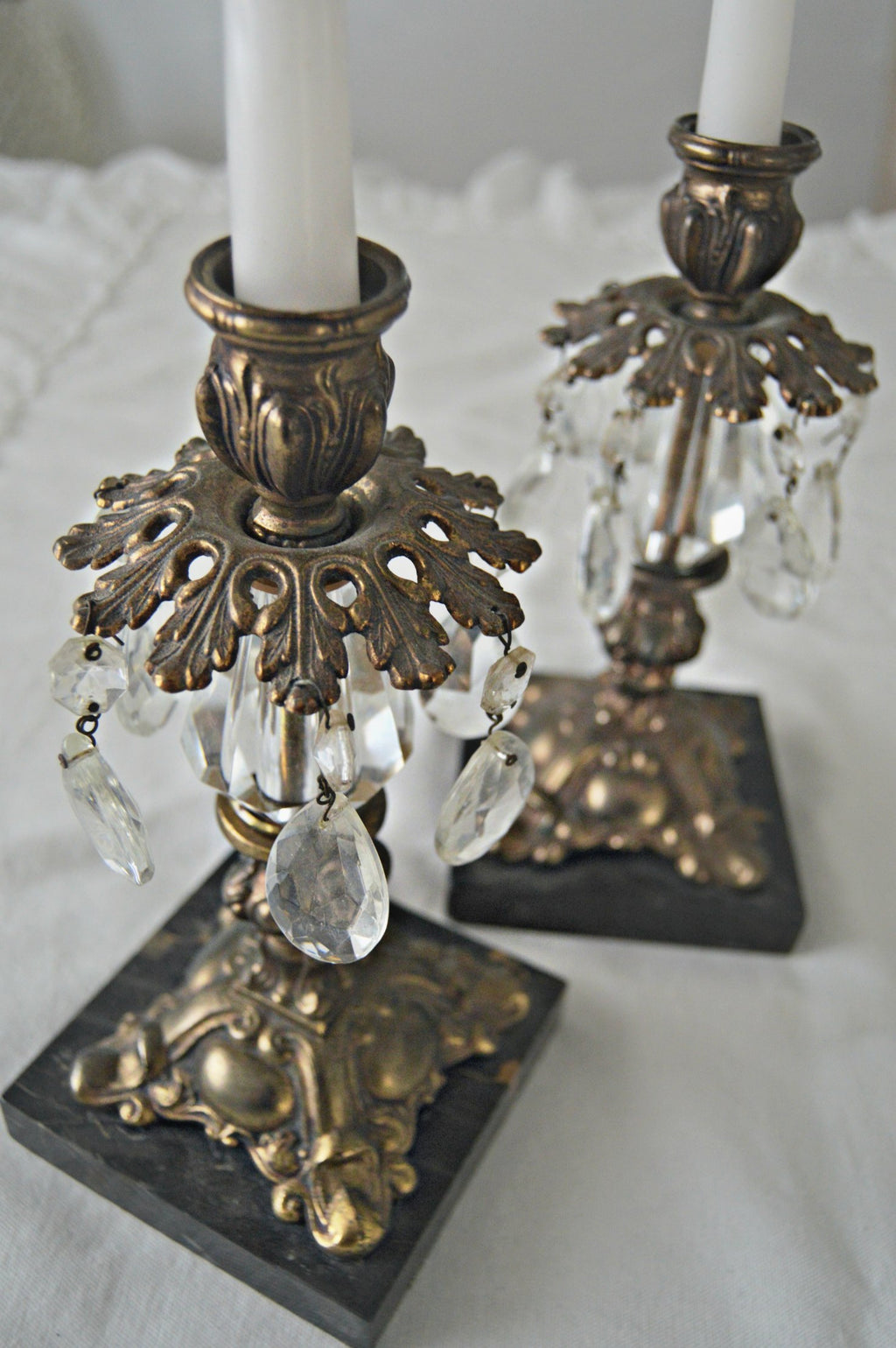 Brass Italian candlestick holders with hanging crystals