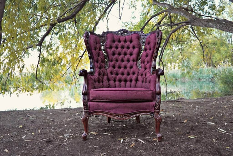 Large burgundy Victorian chair