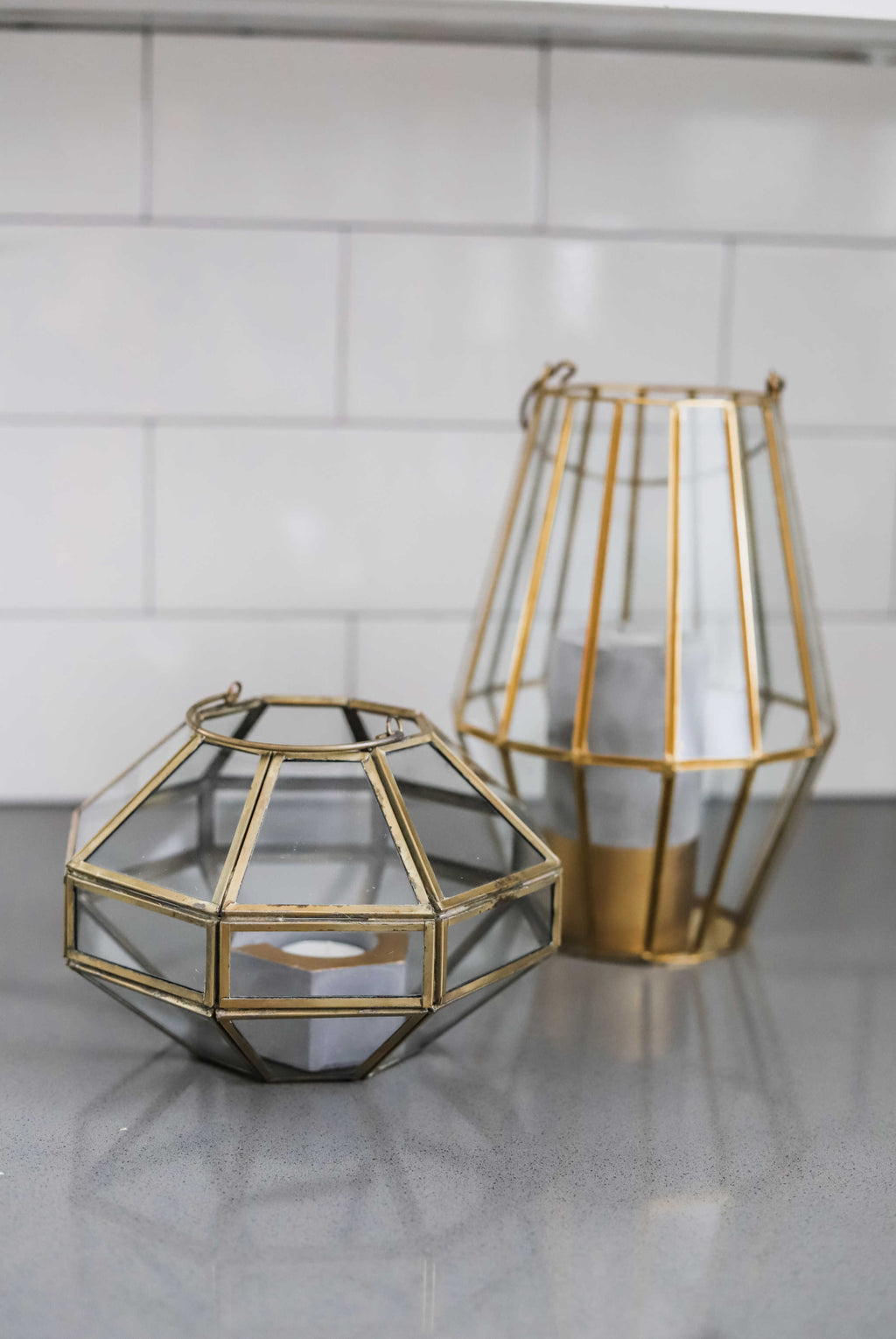 """Gemstone"" Gold Lanterns 