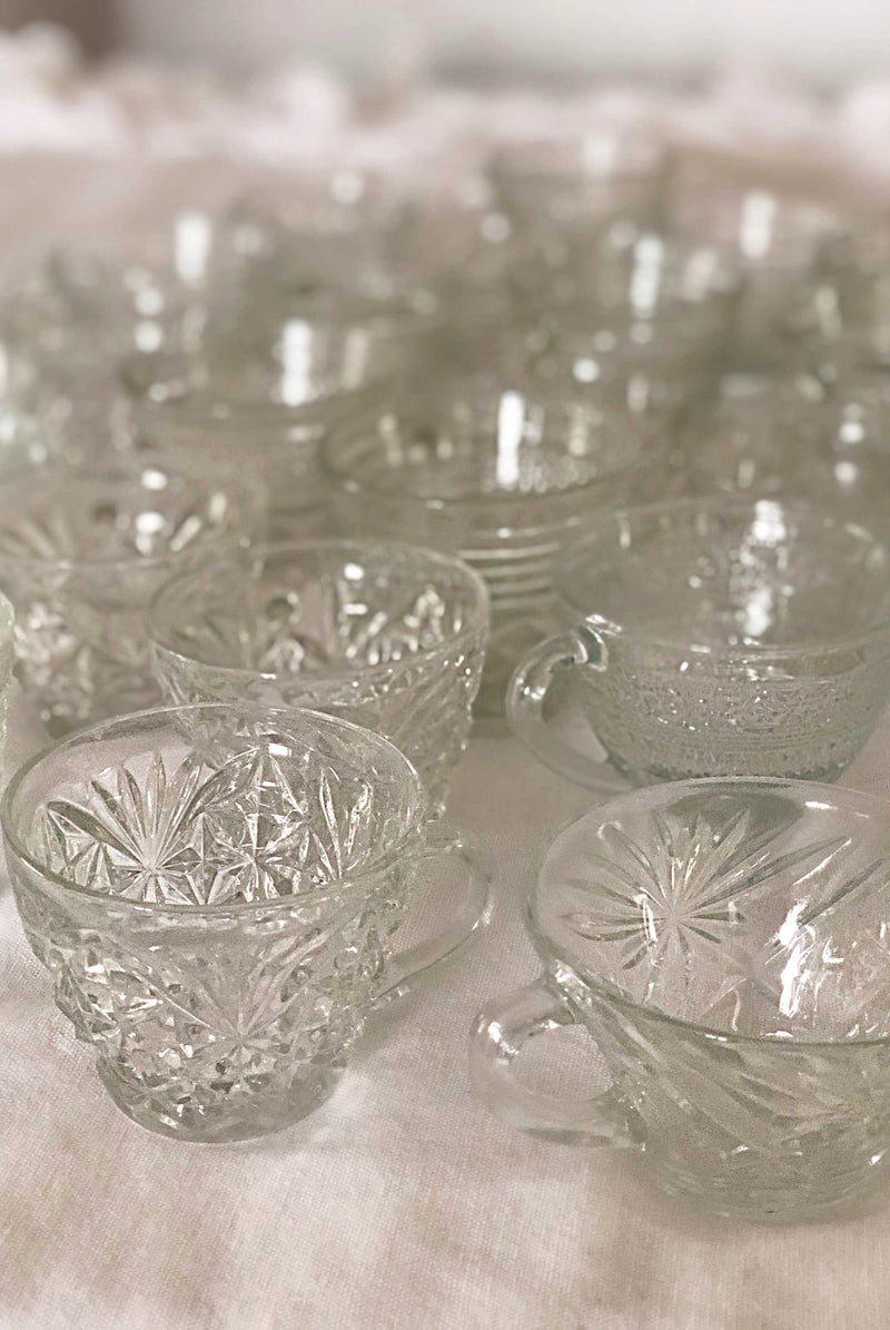 """Sparkling Cider"" Glass Teacups 