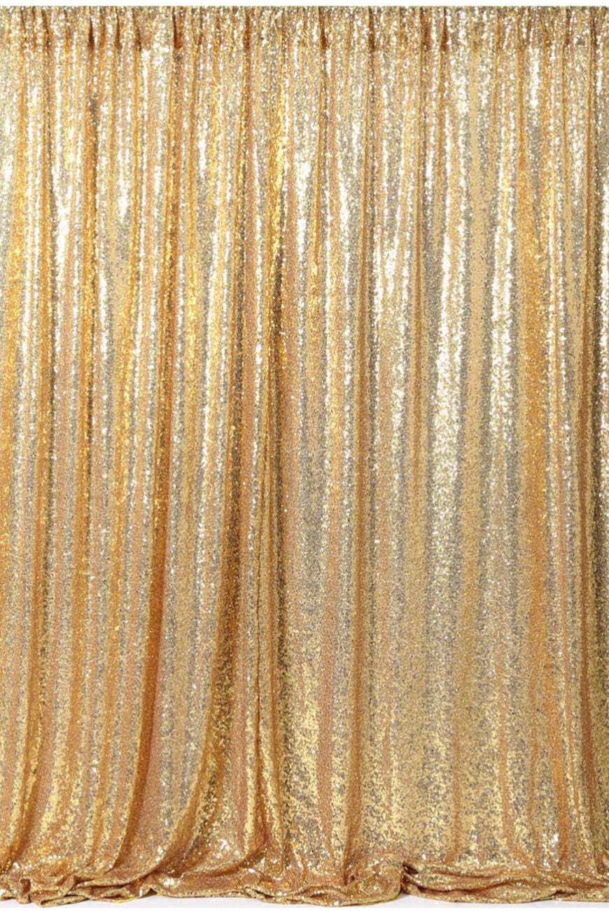 """Girls Just Want to Have Fun"" Gold Sequin Backdrop"