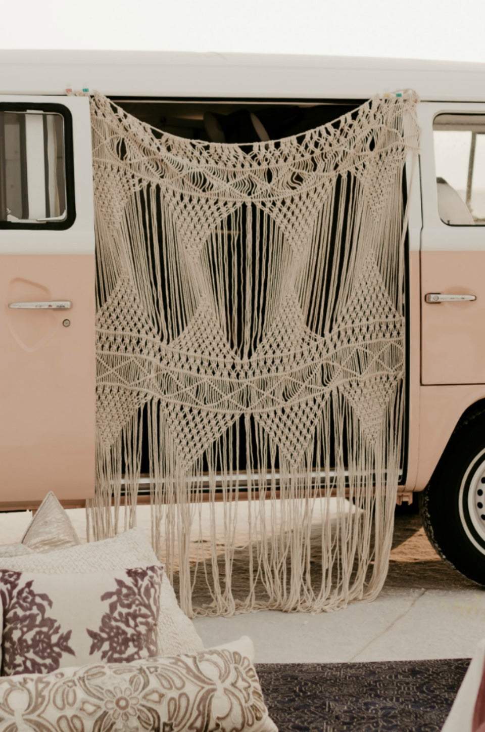 Bohemian macrame backdrop on VW bus