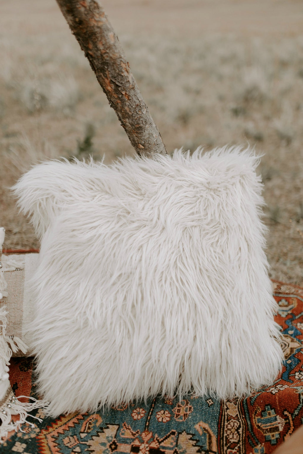 Large faux fur decorative throw pillow
