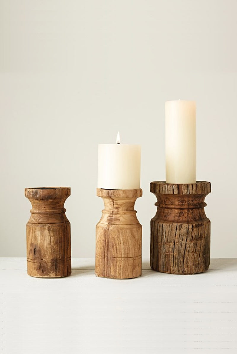 """Holland"" Wood Pillar Candle Holders 