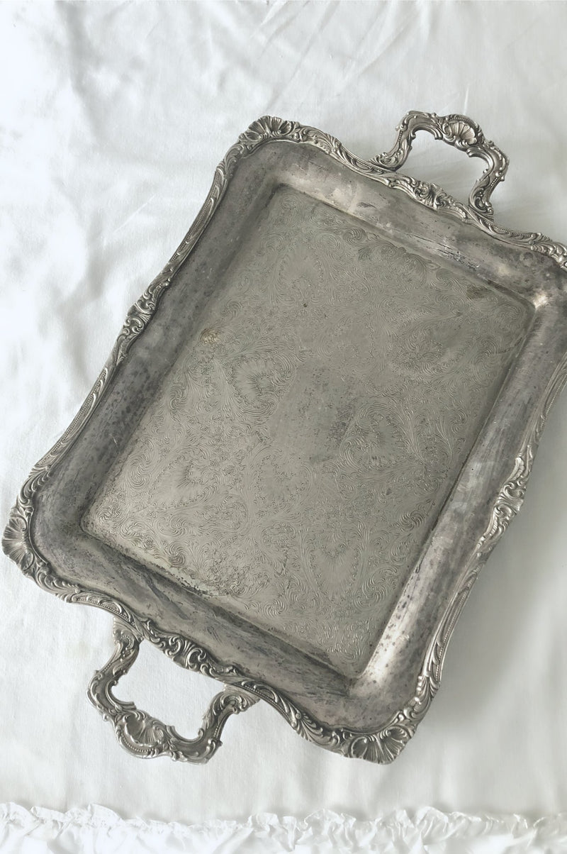 """Ornate Silver"" Serving Trays"
