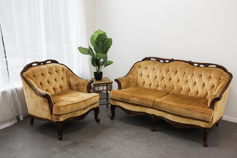 Mid century gold velvet love seat and club chair