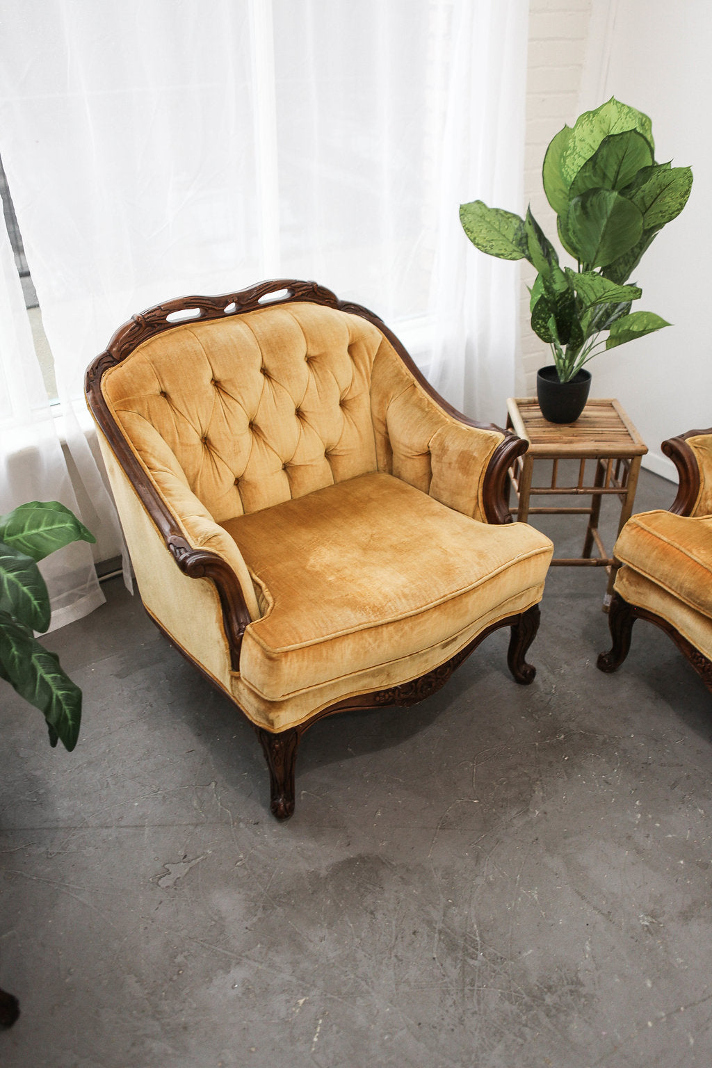 Mid century gold velvet club chair