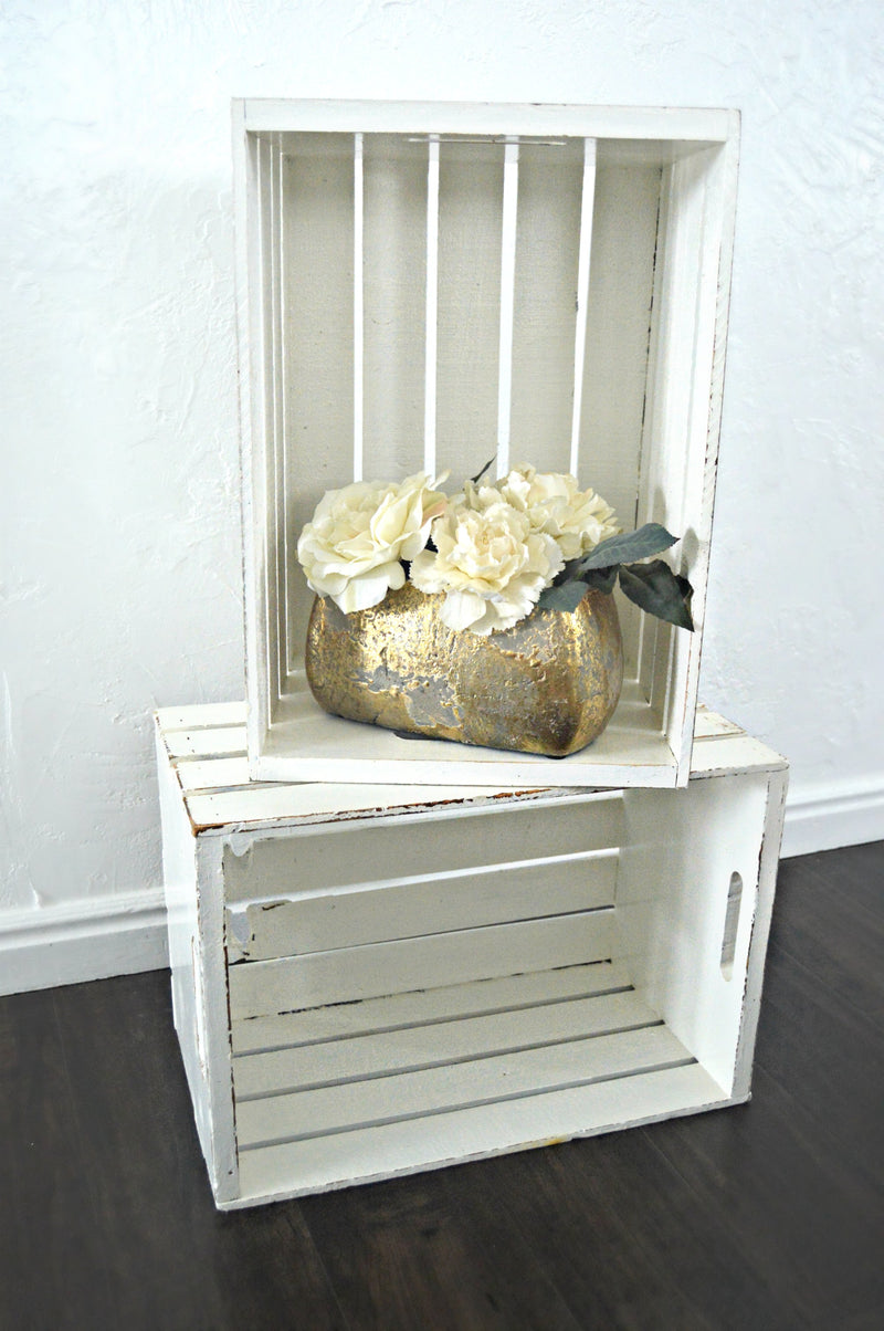 Cream shabby chic wooden crates
