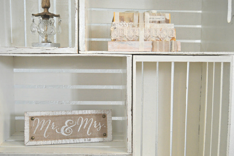 Cream shabby chic wooden crates stacked