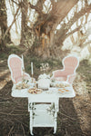 Vintage serving cart for a tea party in the woods