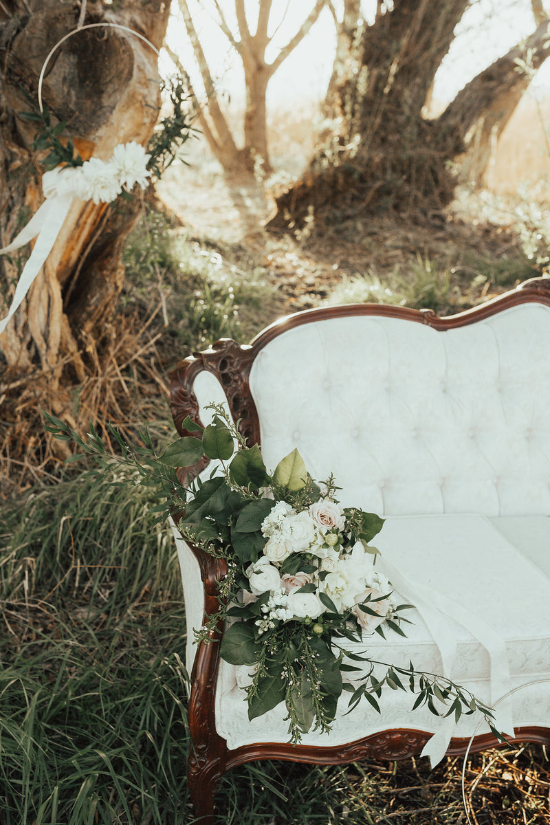 Elegant ivory vintage sofa outdoor wedding decor