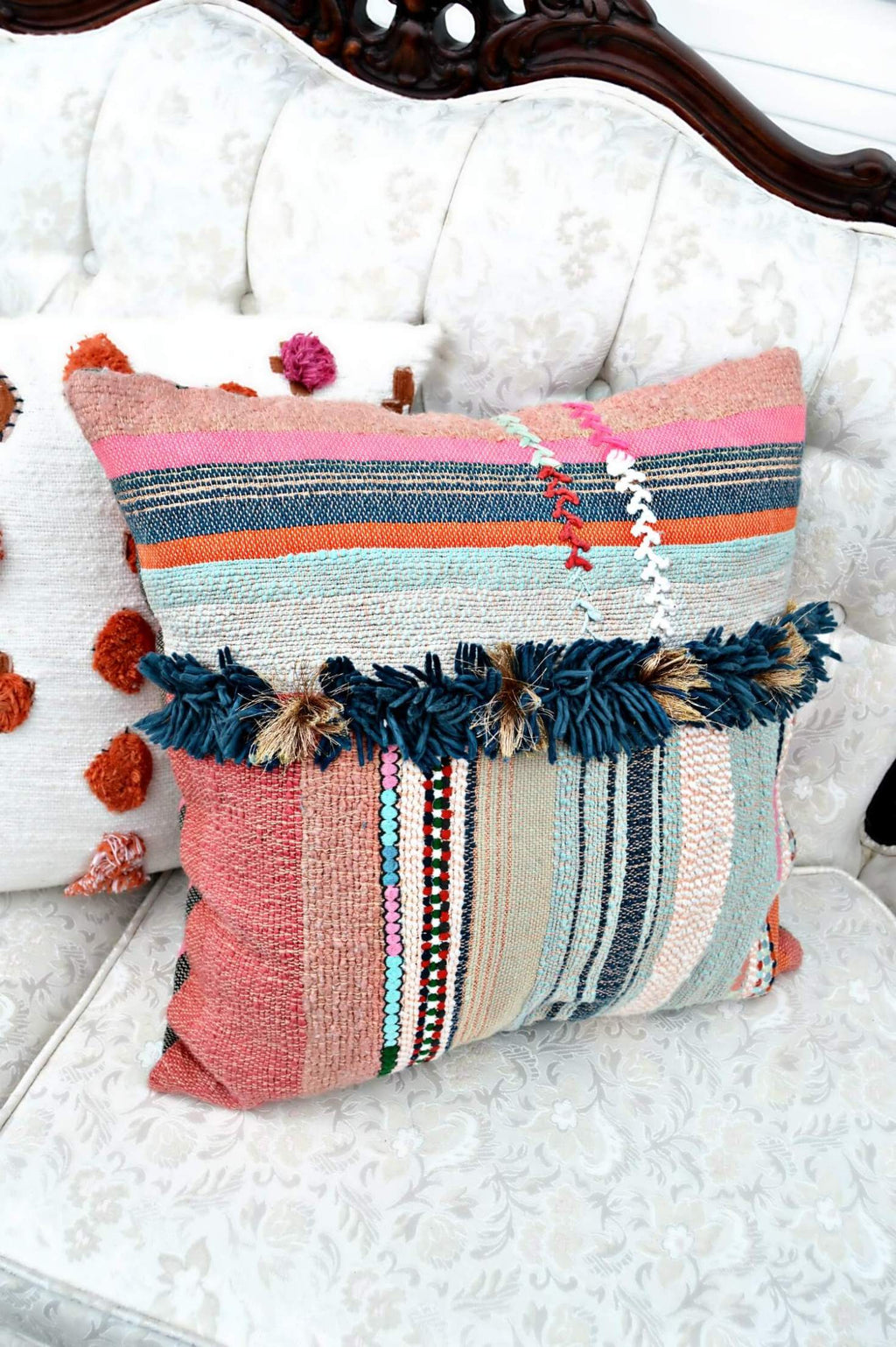 Multi colored boho pillow