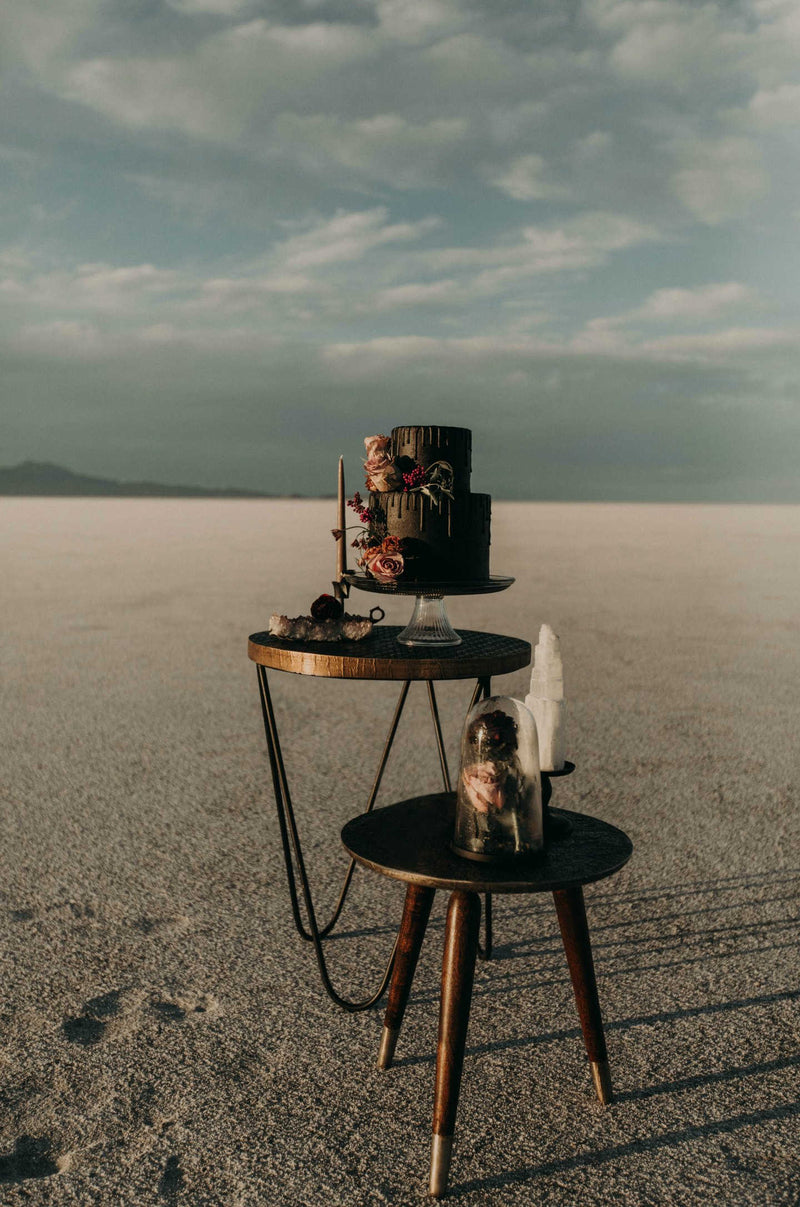 Modern tables in desert photoshoot