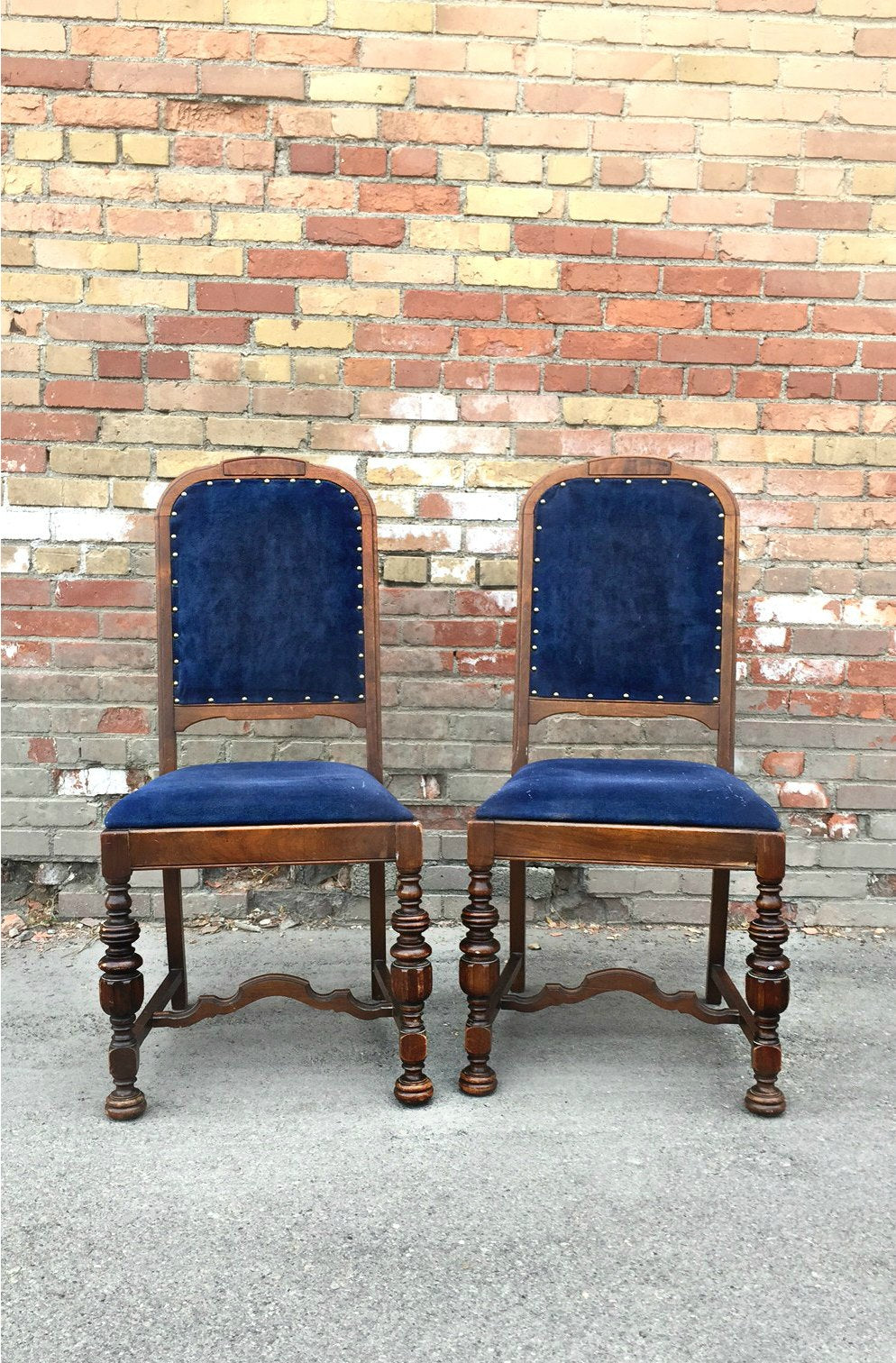 Blue suede chairs