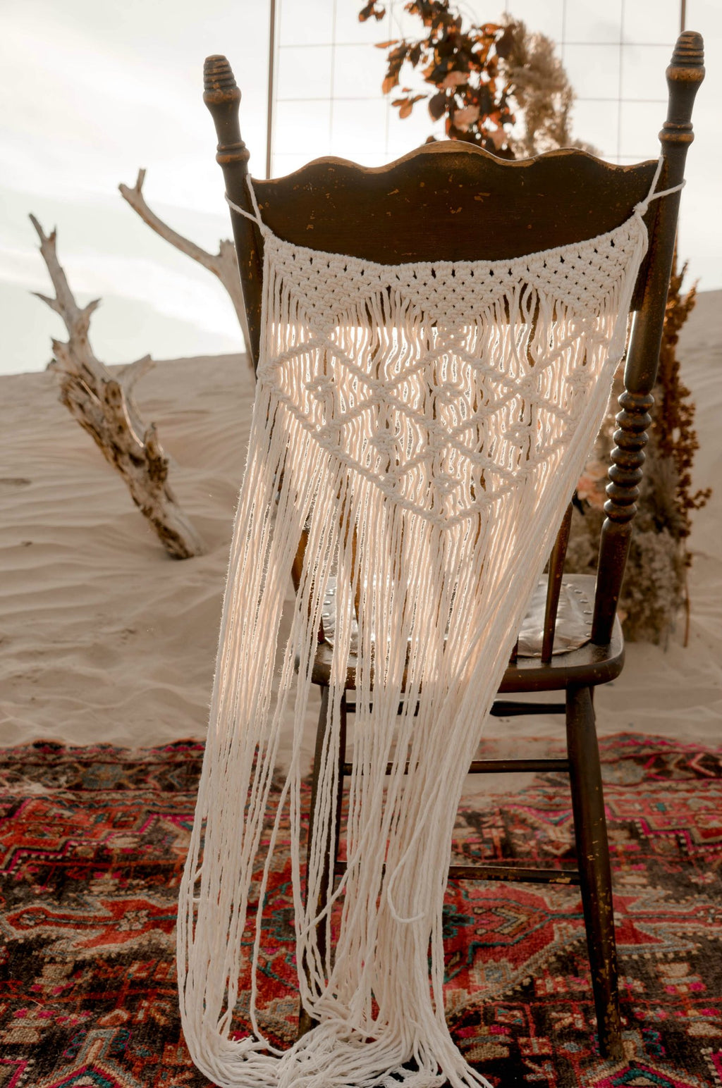 """Kiss on My List"" Macrame Chair Backs (2)"