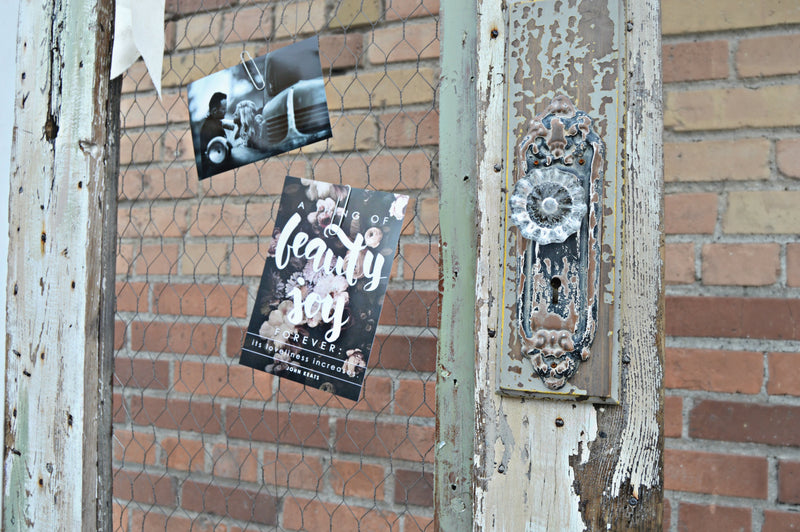 Distressed vintage decorative door with chicken wire for hanging photos