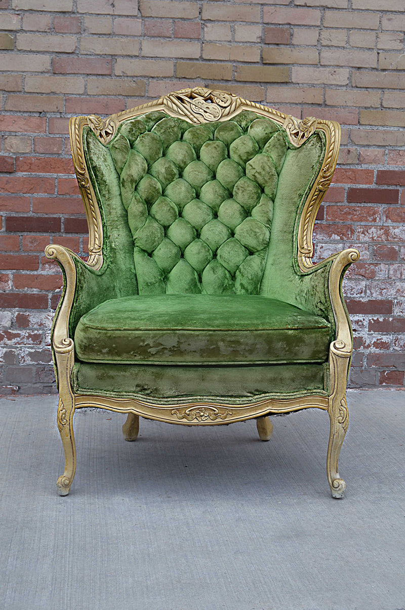 Victorian Louis style velvet green chair