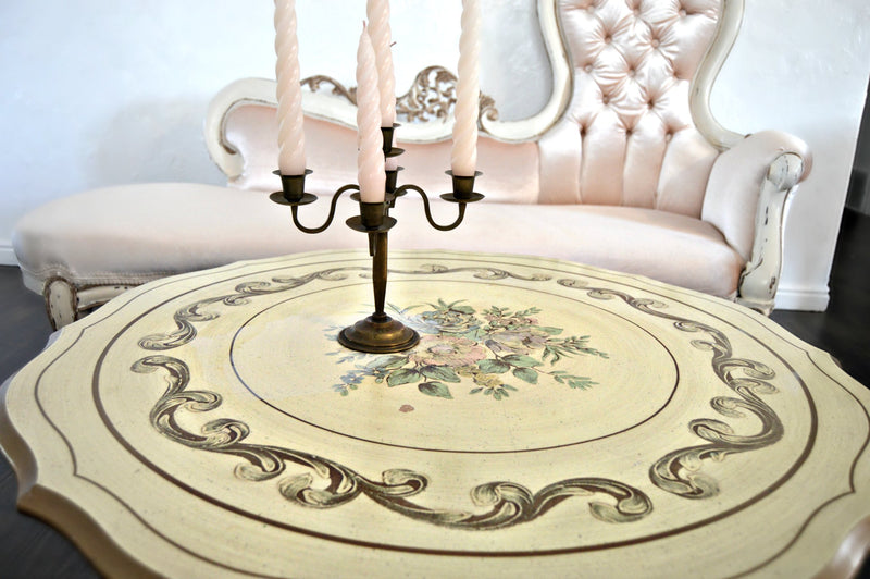 Vintage coffee table with hand painted pastel floral designs