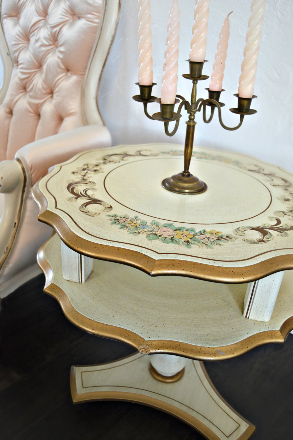 Vintage end table with hand painted pastel floral and gold details