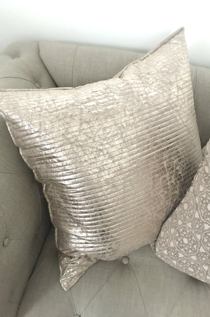 Shimmery silver decorative pillow
