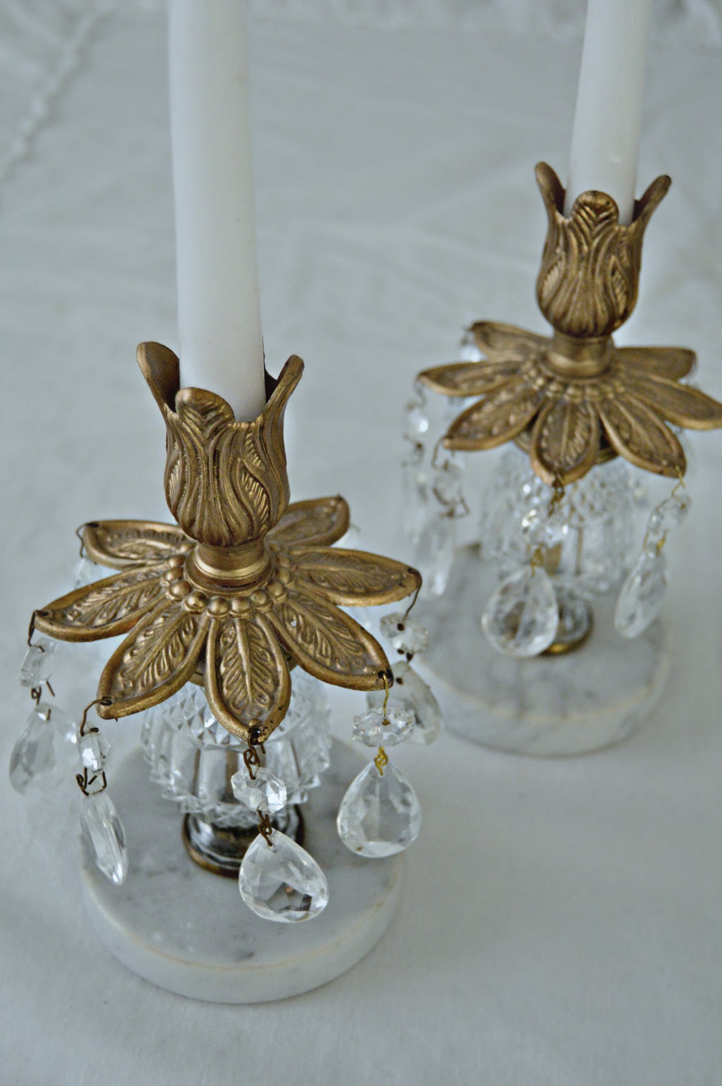 Italian bronze and marble candlestick holders with crystal pendants