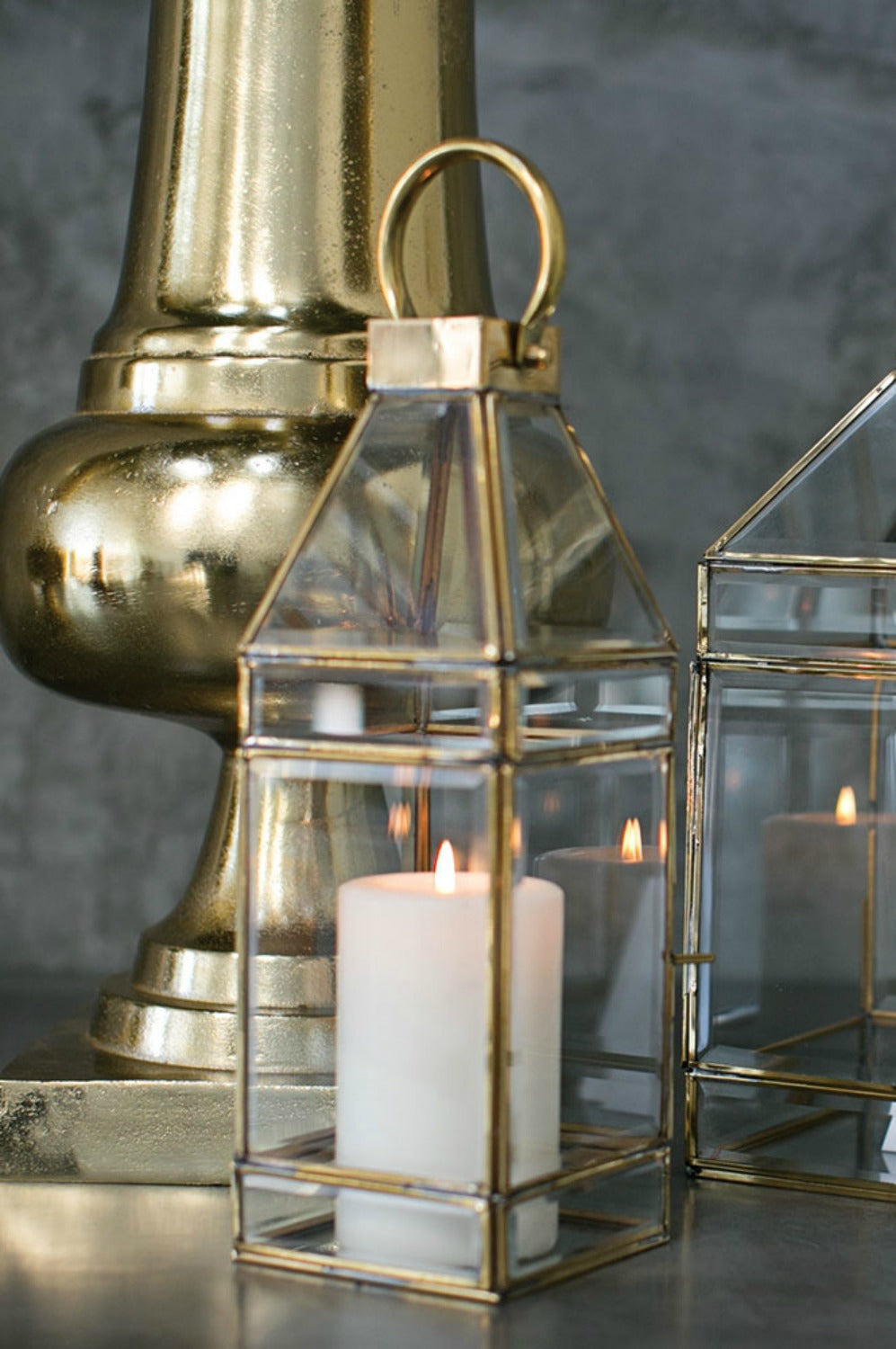 Gold and glass lantern candleholder
