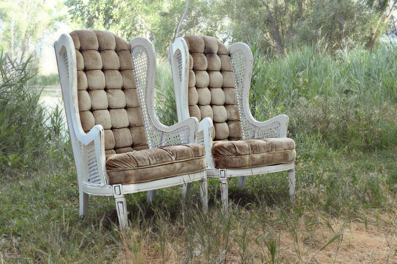 Tan vintage wing back chairs