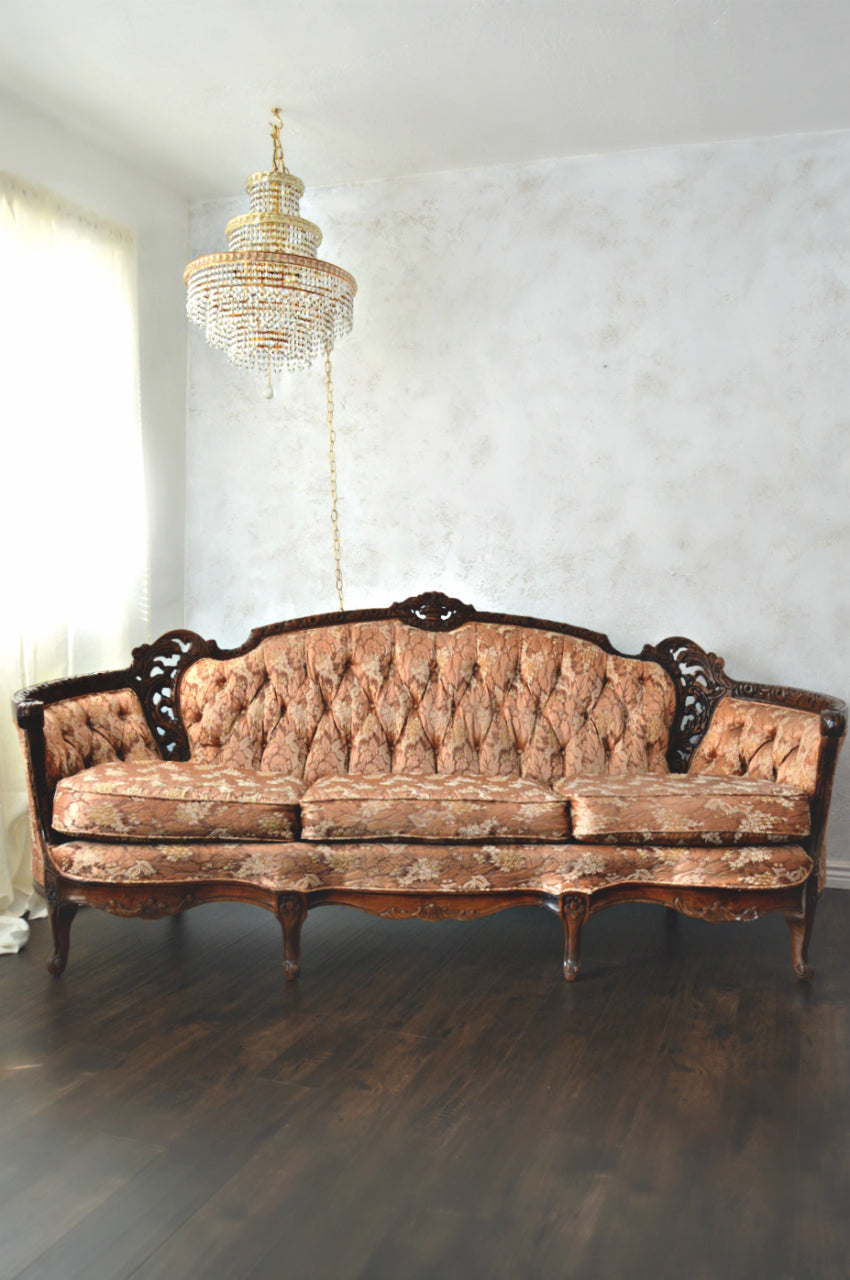Rust color Victorian sofa