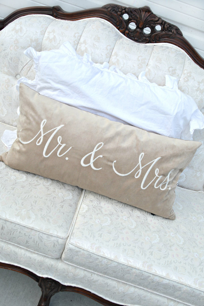 """Mr & Mrs"" tan velvet pillow"
