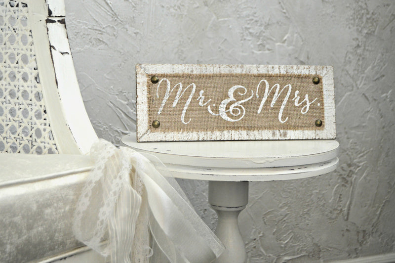 Mr & Mrs. burlap wedding sign