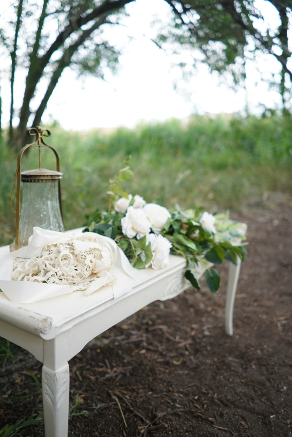 Ivory coffee table decorated for wedding