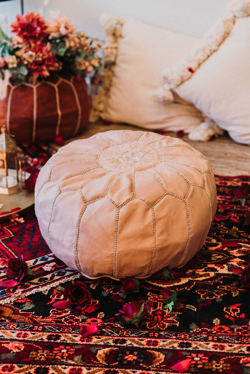 """Nova"" Leather Pouf"