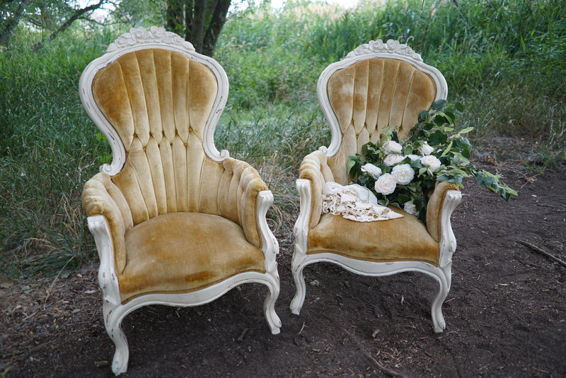Gold velvet vintage chairs